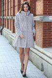 Persian Lamb Fabulous Faux Fur Coat Stylish Grey - Adelaqueen - 3