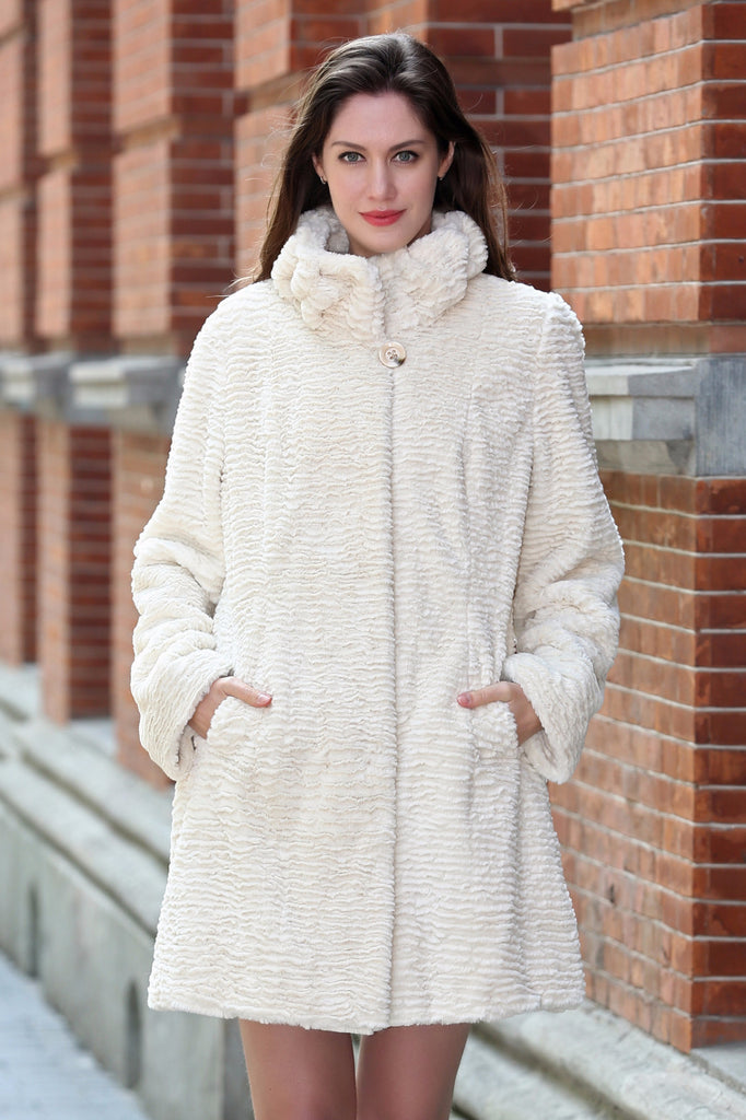 Persian Lamb Fabulous Faux Fur Coat Stylish Beige - Adelaqueen - 1