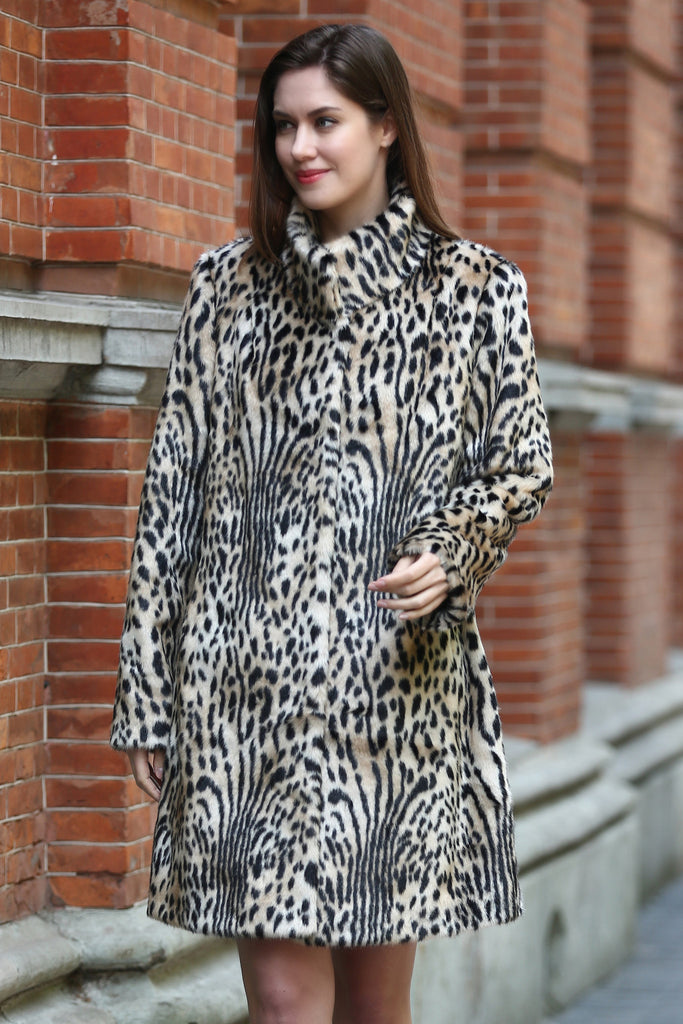 Light Leopard Print Lush Mink Faux Fur Coat with Stand Collar