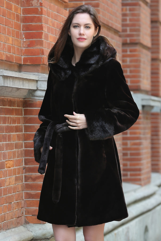Brown Fabulous Sheared Mink Faux Fur Coat with Hood - Adelaqueen - 1