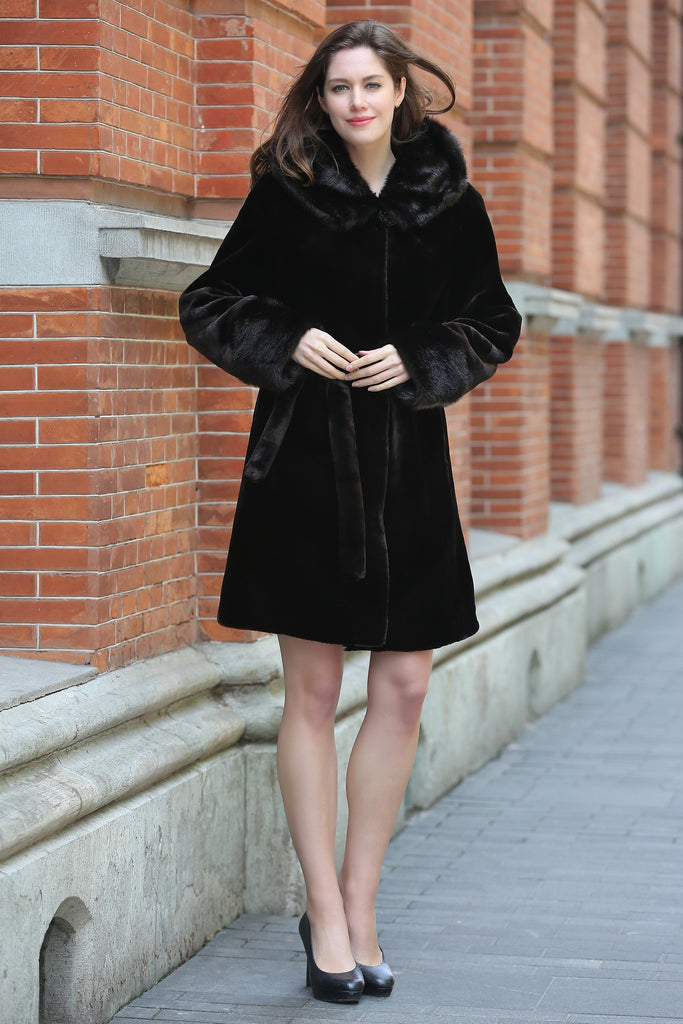 Brown Fabulous Sheared Mink Faux Fur Coat with Hood - Adelaqueen - 2