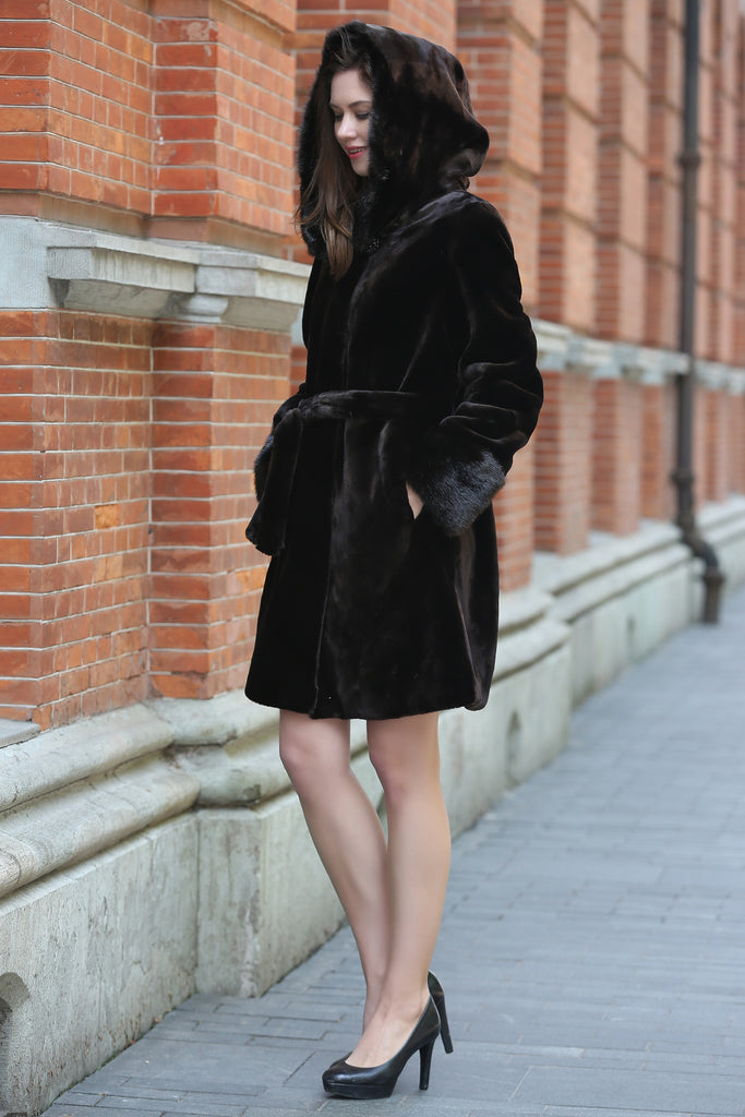 Brown Fabulous Sheared Mink Faux Fur Coat with Hood - Adelaqueen - 4