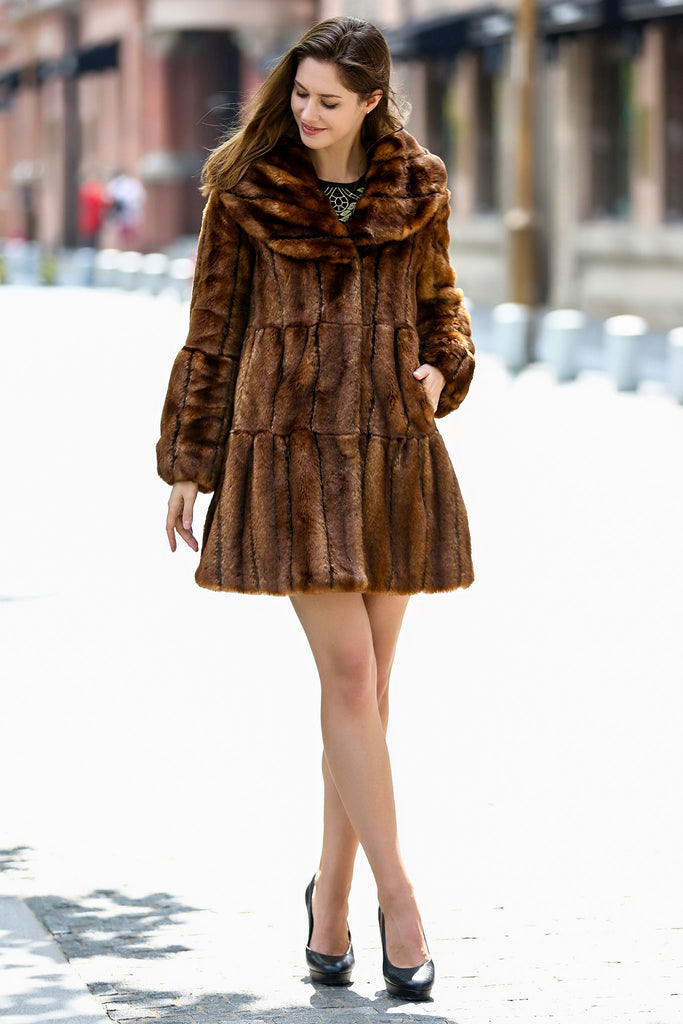 Classic Sable Lotus Ruffle Style Faux Fur Coat middle length Brown