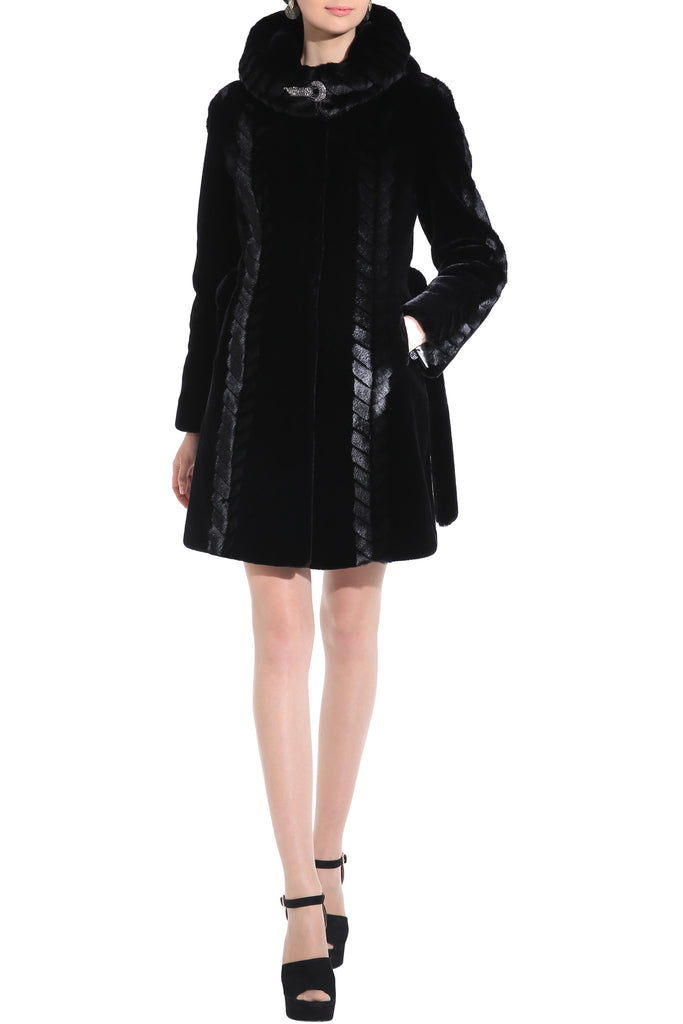CHEVELLE SLEEK LINES COUTURE BLACK SHARED MINK FAUX FUR COAT - Adelaqueen - 2