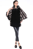 COLOUR BLOCK BAT SLEEVE HOODED SHORT FAUX FUR COAT - Adelaqueen - 2