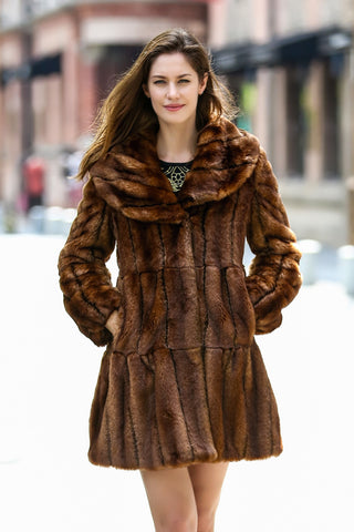 Persian Lamb Fabulous Faux Fur Coat Stylish Beige