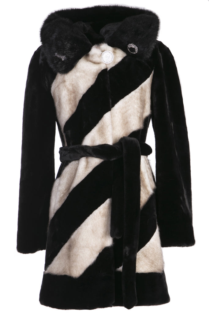 LUXURY COLOUR BLOCK FAUX MINK COAT WITH DIAMOND BUCKLE - Adelaqueen - 1