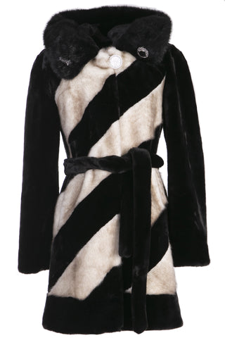 COLOUR BLOCK BAT SLEEVE HOODED SHORT FAUX FUR COAT