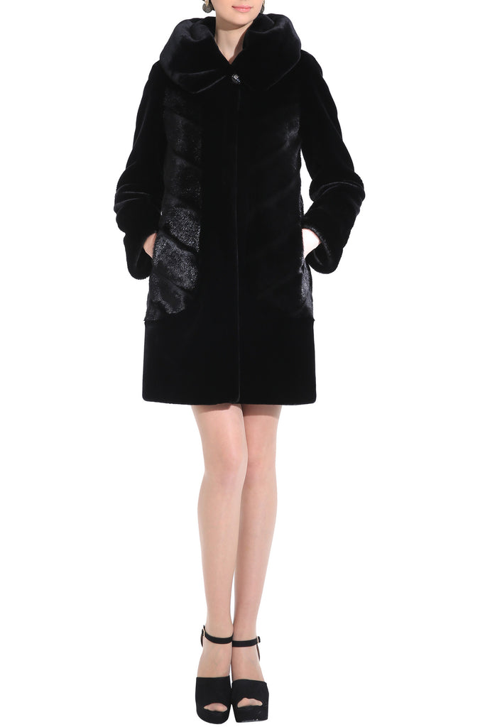 CARLYNDA BLACK MINK FAUX FUR COAT WITH COUTURE PATTERN - Adelaqueen - 2