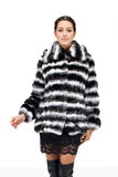 Fabulous Luxury Faux Fur Coat Chinchilla Jacket White & Black - Adelaqueen - 1