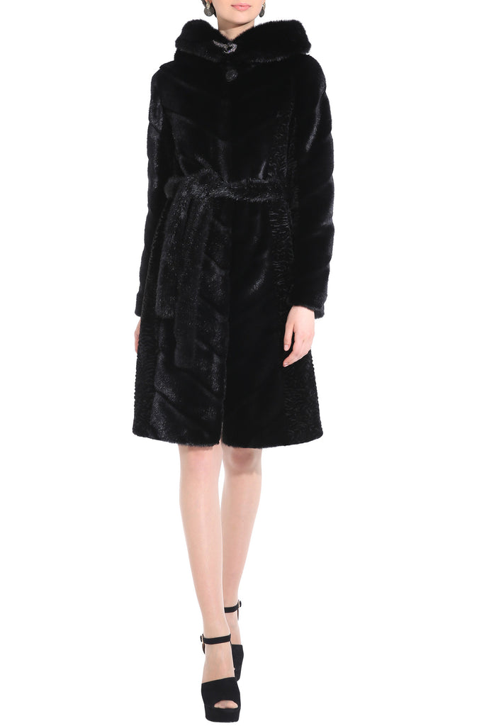 KENISHA STYLE LUXURY BLACK MINK MIDDLE LENGTH FAUX FUR COAT - Adelaqueen - 2