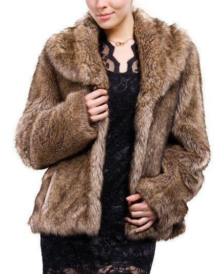 Clearance! Women's Brown Long Hair Coyote Short Faux Fur Coat/Jacket