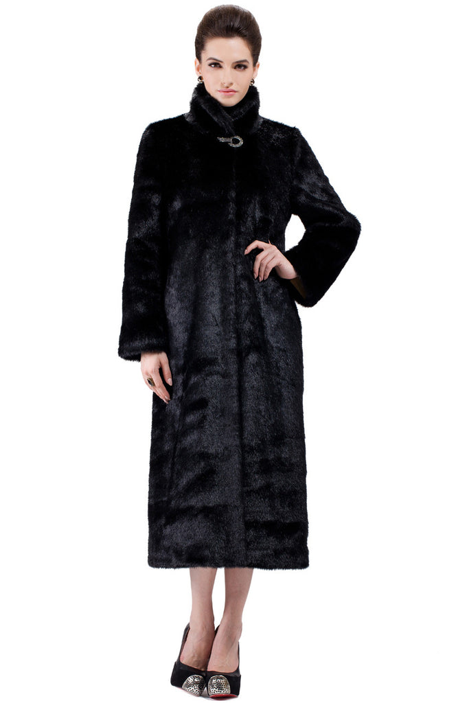 CLASSIC FULL LENGTH BLACK MINK FAUX FUR COAT - Adelaqueen - 2