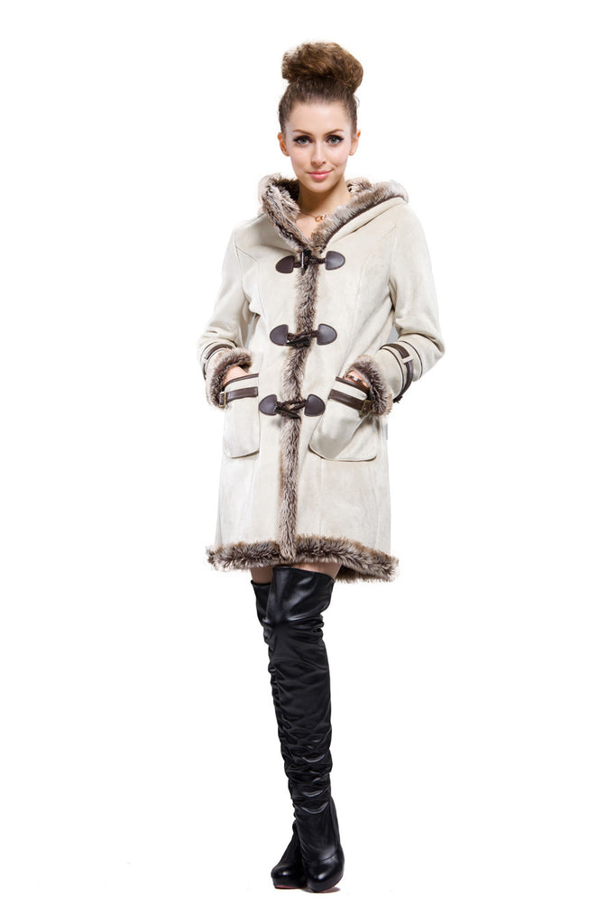 BEIGE FAUX SHEARLING COAT WITH HORN BUTTON AND HOOD - Adelaqueen - 2