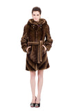 IMPRESSION BROWN SABLE FAUX FUR COAT WITH HOOD - Adelaqueen - 2