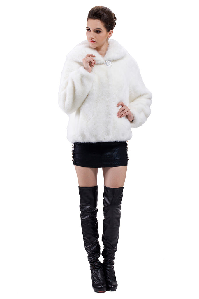 EMILY PURE WHITE SHORT FAUX MINK FUR COAT - Adelaqueen - 1