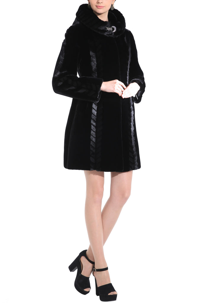 CHEVELLE SLEEK LINES COUTURE BLACK SHARED MINK FAUX FUR COAT - Adelaqueen - 3