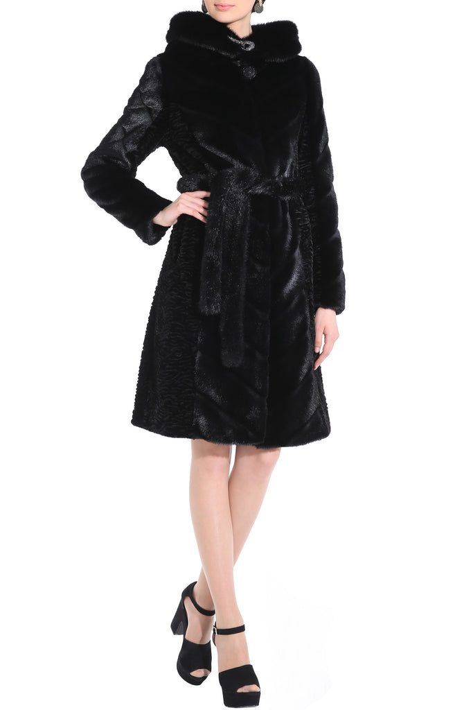 KENISHA STYLE LUXURY BLACK MINK MIDDLE LENGTH FAUX FUR COAT - Adelaqueen - 3