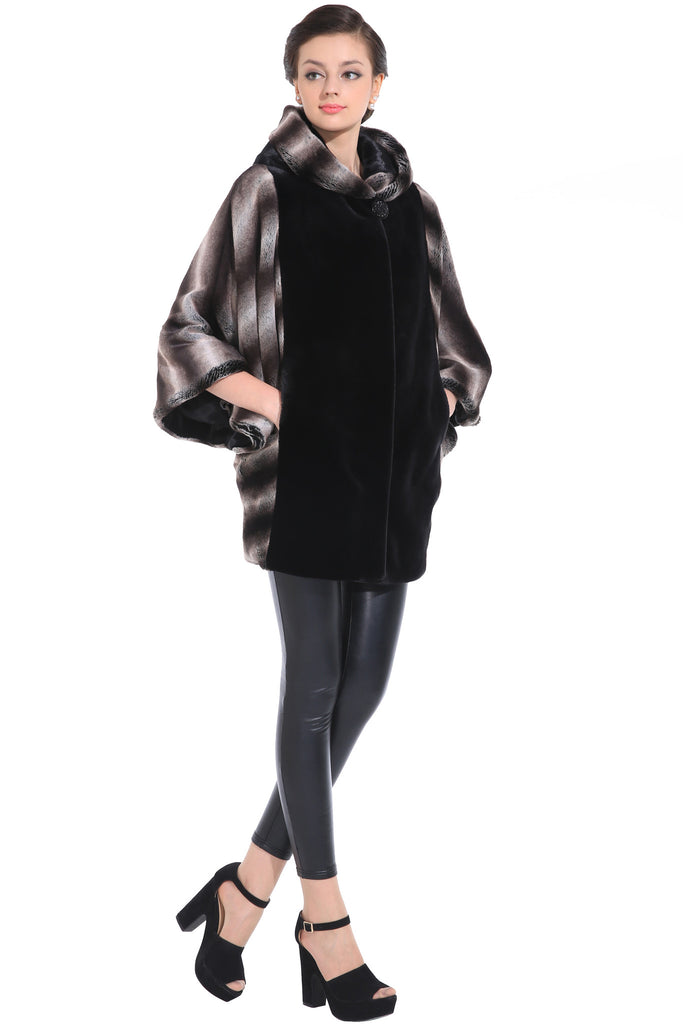 COLOUR BLOCK BAT SLEEVE HOODED SHORT FAUX FUR COAT - Adelaqueen - 3