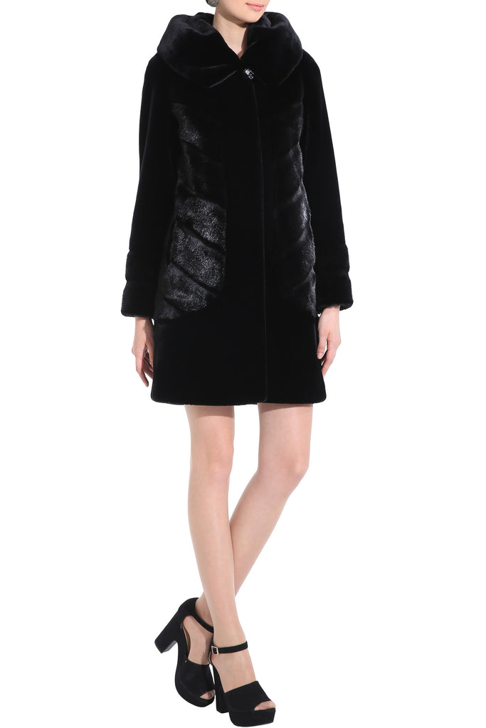 CARLYNDA BLACK MINK FAUX FUR COAT WITH COUTURE PATTERN - Adelaqueen - 3