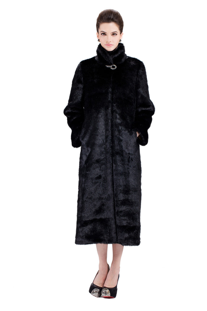 CLASSIC FULL LENGTH BLACK MINK FAUX FUR COAT - Adelaqueen - 3