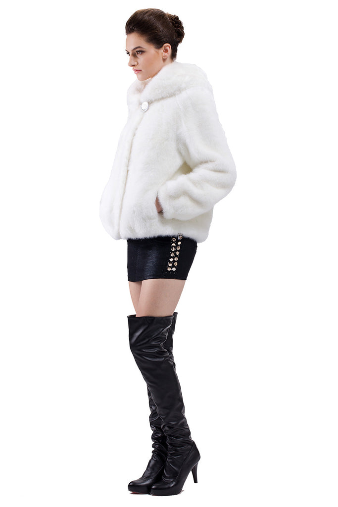 EMILY PURE WHITE SHORT FAUX MINK FUR COAT - Adelaqueen - 2