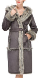 Lush Grey Suede Faux Leather Coat Crafted with Faux Fox Fur - Adelaqueen - 2