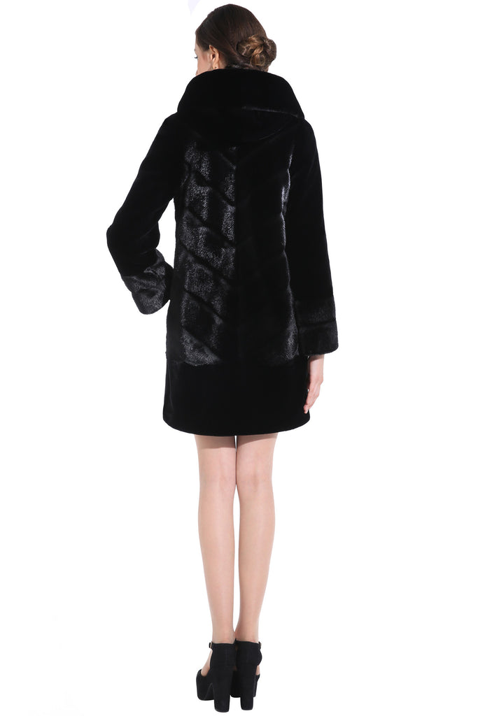 CARLYNDA BLACK MINK FAUX FUR COAT WITH COUTURE PATTERN - Adelaqueen - 4