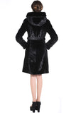 KENISHA STYLE LUXURY BLACK MINK MIDDLE LENGTH FAUX FUR COAT - Adelaqueen - 4