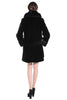 Sheared Mink Faux Fur Coat Knee Length with Shawl Hood Black