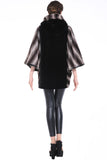 COLOUR BLOCK BAT SLEEVE HOODED SHORT FAUX FUR COAT - Adelaqueen - 4