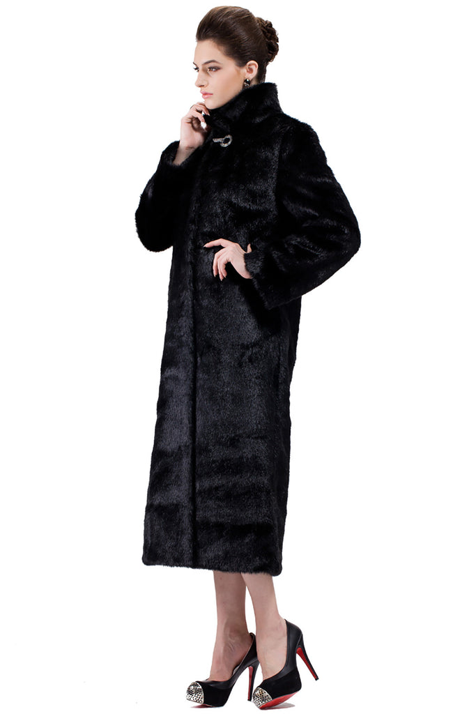 CLASSIC FULL LENGTH BLACK MINK FAUX FUR COAT - Adelaqueen - 4