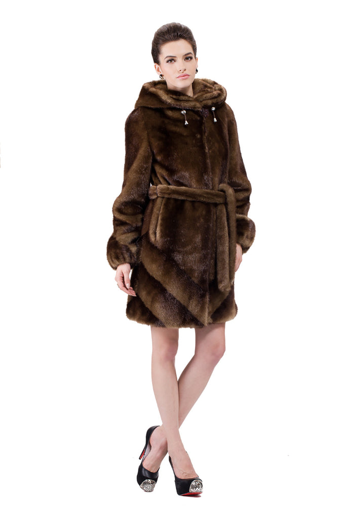 IMPRESSION BROWN SABLE FAUX FUR COAT WITH HOOD - Adelaqueen - 3