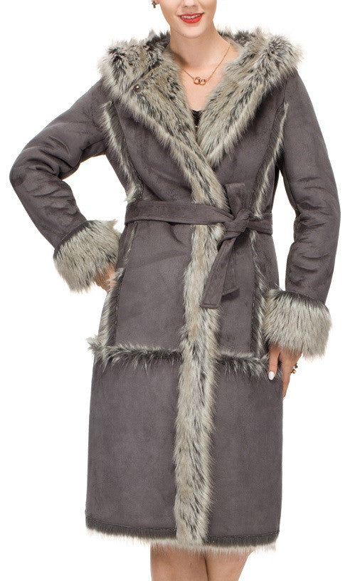 Lush Grey Suede Faux Leather Coat Crafted with Faux Fox Fur - Adelaqueen - 3