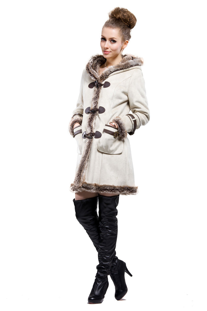 BEIGE FAUX SHEARLING COAT WITH HORN BUTTON AND HOOD - Adelaqueen - 3