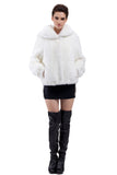 EMILY PURE WHITE SHORT FAUX MINK FUR COAT - Adelaqueen - 3