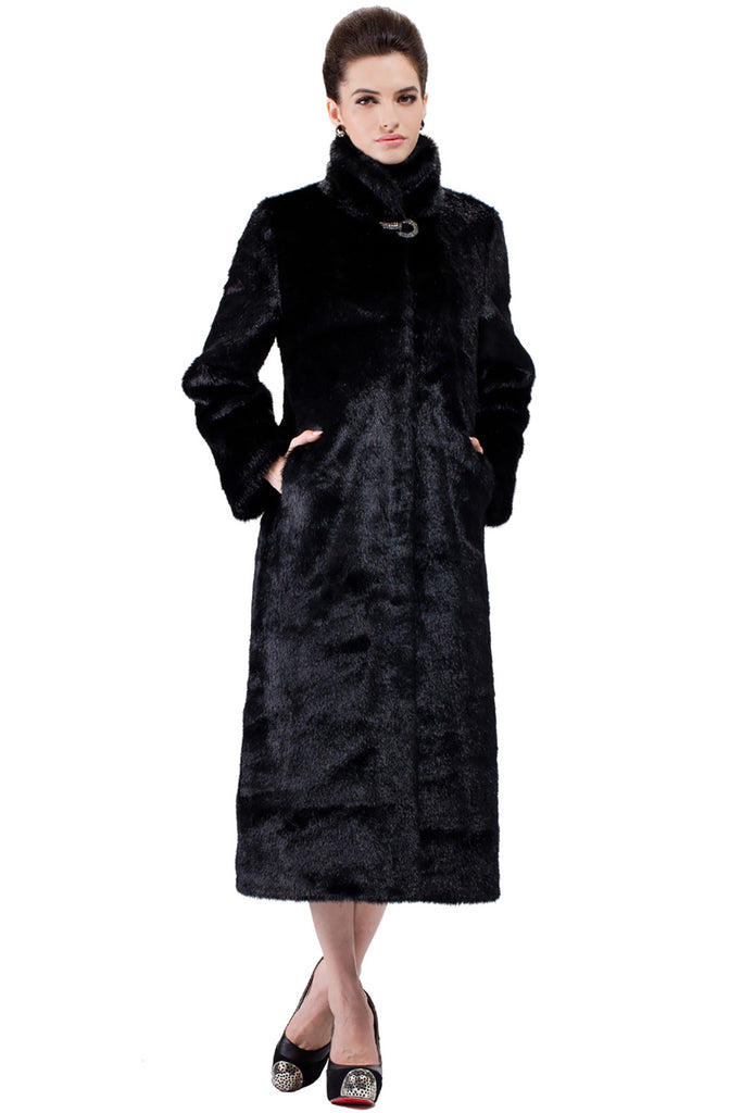 CLASSIC FULL LENGTH BLACK MINK FAUX FUR COAT - Adelaqueen - 5