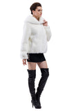 EMILY PURE WHITE SHORT FAUX MINK FUR COAT - Adelaqueen - 4