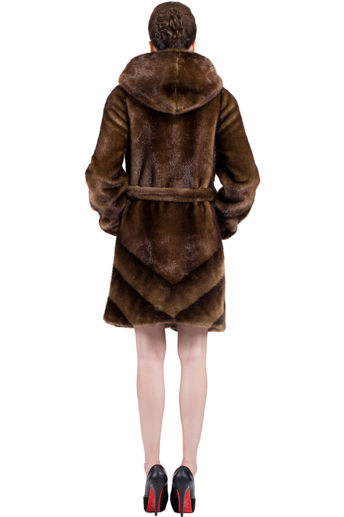IMPRESSION BROWN SABLE FAUX FUR COAT WITH HOOD - Adelaqueen - 5
