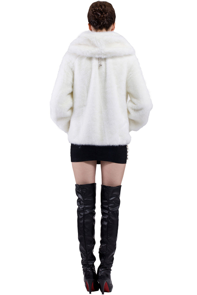 EMILY PURE WHITE SHORT FAUX MINK FUR COAT - Adelaqueen - 5