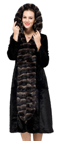 Classic Sable Lotus Ruffle Style Faux Fur Coat middle length Dark Brown
