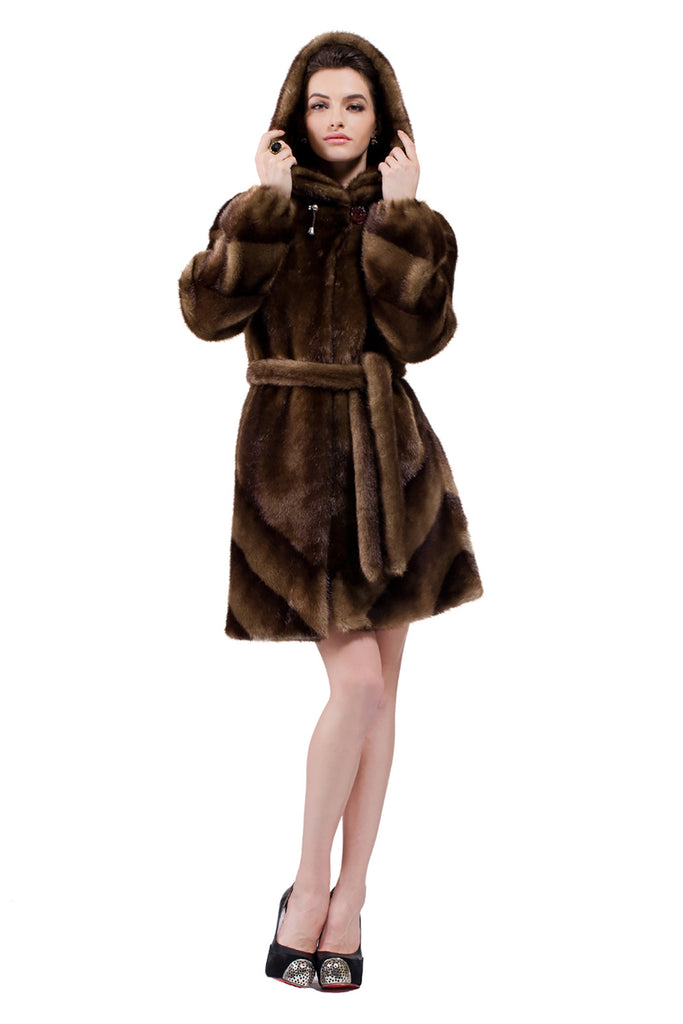 IMPRESSION BROWN SABLE FAUX FUR COAT WITH HOOD - Adelaqueen - 4