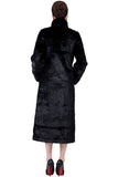 CLASSIC FULL LENGTH BLACK MINK FAUX FUR COAT - Adelaqueen - 6