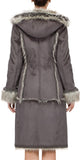 Lush Grey Suede Faux Leather Coat Crafted with Faux Fox Fur - Adelaqueen - 4