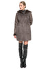 Clearance! Faux Suede Coat Crafted with lush Rex Rabbit Faux Fur