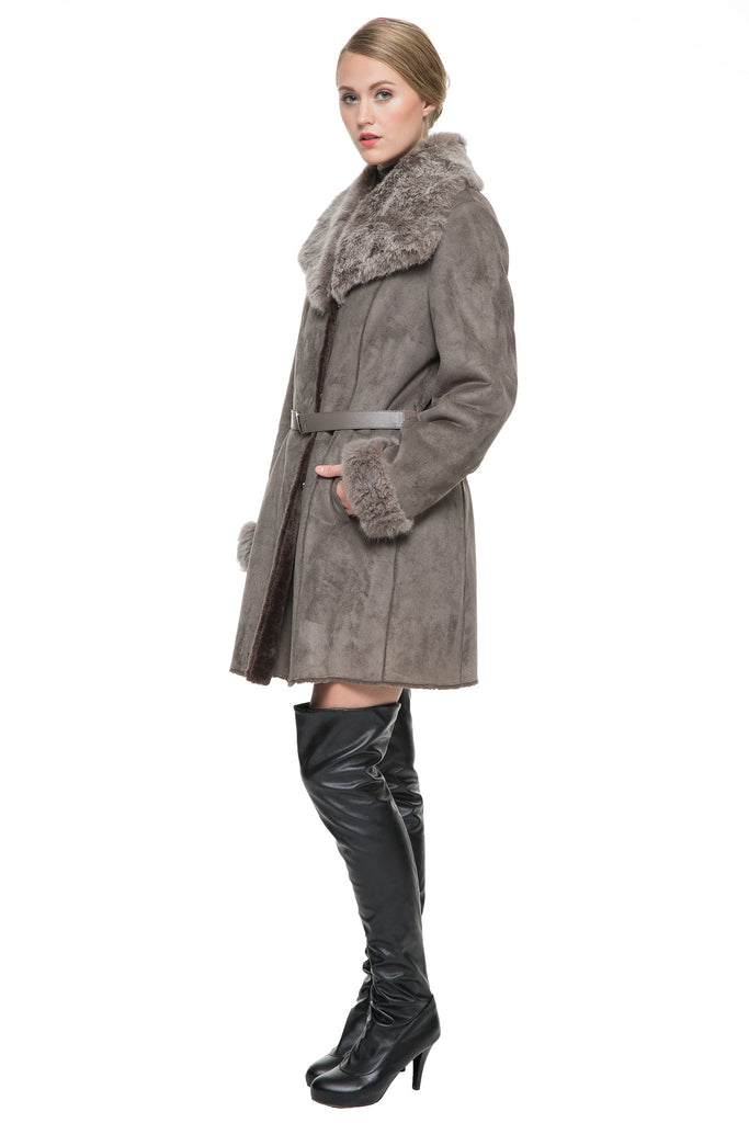 Faux Suede Lapel Coat with Lush Rex Rabbit Fur Collar & Cuffs