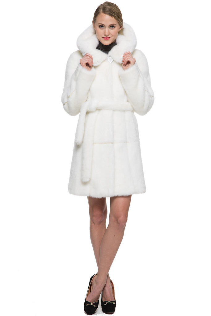 SNOW PRINCESS WHITE MINK FAUX FUR COAT WITH HOODED - Adelaqueen - 5