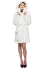 SNOW PRINCESS WHITE MINK FAUX FUR COAT WITH HOODED - Adelaqueen - 3