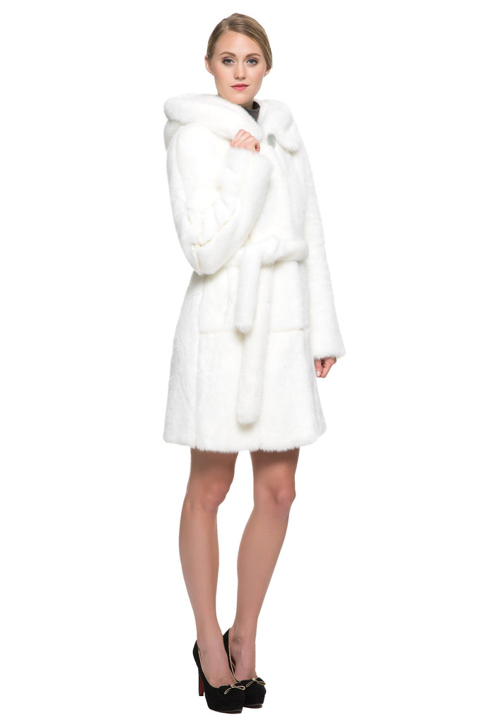 Fashion Ferret Faux Fur Coat Knee length with Snow White Hood