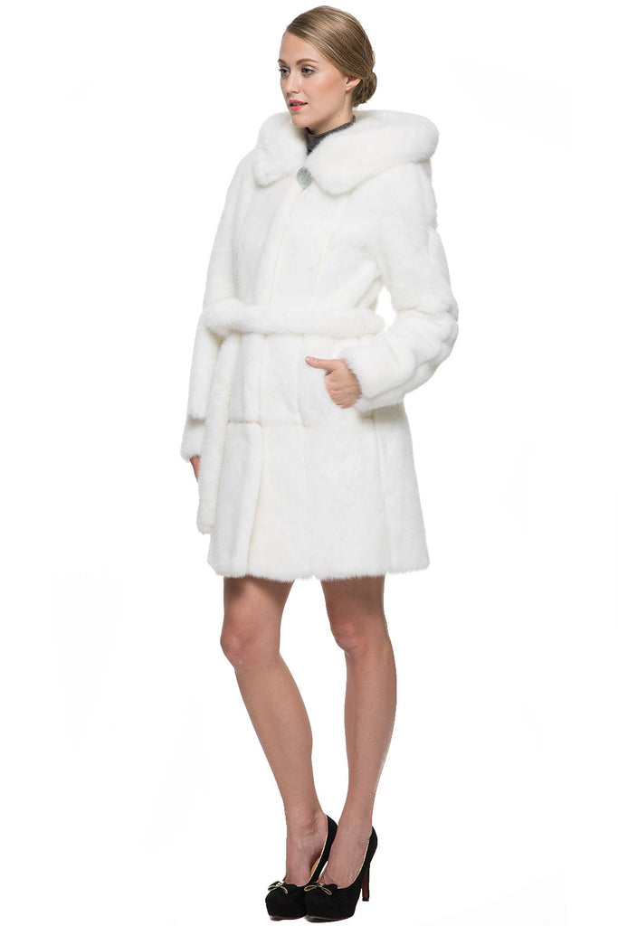 SNOW PRINCESS WHITE MINK FAUX FUR COAT WITH HOODED - Adelaqueen - 4